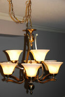 Chandelier and Matching ceiling mount light