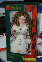 """Curly Porcelain Doll 16"""" Holliday Collection"""