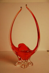 FAB MID CENTURY CHALET ART GLASS DEEP ORANGE BASKET CENTERPIECE