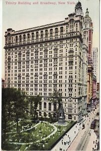 Antique-POSTCARD-c1910s-Trinity-Building-Broadway-NEW-YORK-CITY-NY
