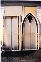 2 belles grandes fenêtres d'église vitraille d'antiquité 1900's