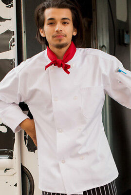 8 Button Chef Coat - White Chef Coat, 8-Button, 65/35 Cotton Blend, Long Sleeve, XS to 2XL - 400