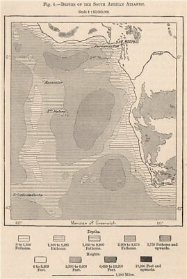 Depths of the South African Atlantic 1885 old antique vintage map plan chart