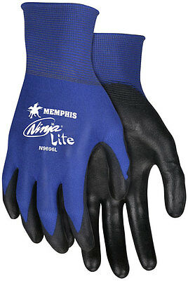 3 Pair Memphis Ninja Nylon Work Gloves With Polyurethane Coated Palm Medium