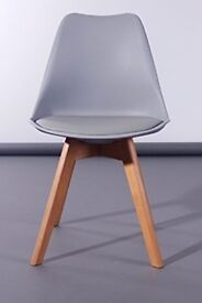 New Designer Latino 365 Dining Chair - Grey With Padded Faux Leather Seat