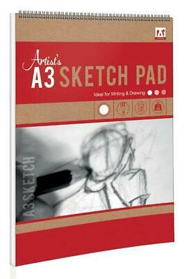3 x Pads of A3 Sketch Book 25 Sheets Artist Pad 80gsm White Paper