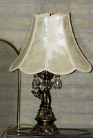 Charming Antique Lamp with Cherub + Shade- Home Lighting Decor