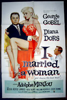 RARE 1958 I MARRIED A WOMAN SEXY DIANA DORS MOVIE THEATER POSTER