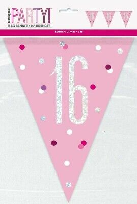 16th Birthday Pink & Silver Foil Bunting Party Banner Garland Flag Decoration