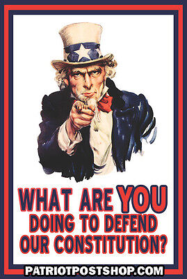 What Are You Doing To Defend The Constitution  Uncle Sam Sticker