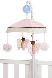 Baby Girl Floral & Butterfly Infant Nursey Pink & Lavender Crib Musical Moblie