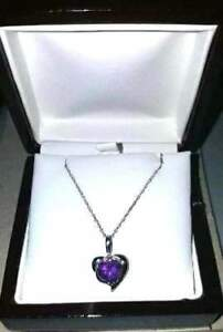 BRAND NEW Purple Amethyst H - I Diamond 14K White Gold Pendant