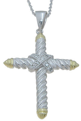 Diamond Cross Pendant Necklace   14K White   Yellow Gold Over Sterling Silver