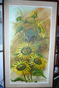 "Garden Study by O. J. Coghlin ""Sunflowers"" Original Oil Painting"