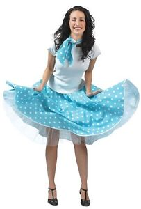 ROCK AND ROLL POLKA DOT SKIRT 1950S GREASE JIVE LADIES FANCY DRESS COSTUME