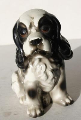(Cocker Spaniel Dog Figurine Black-White Ceramic-Porcelain-Unmarked Adorable Fig)