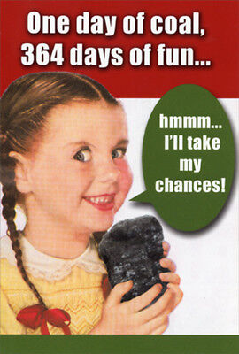 One Day Of Coal Box of 12 Humorous  Funny Nobleworks Christmas Cards ()
