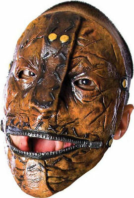 Morris Costumes Slip Knot Maggots Latex Zipper Mouth Mottled Brown Mask. RU68199