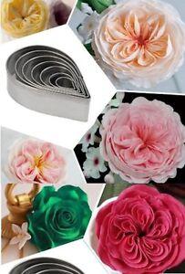Rose Flower Petal 7 pc Metal Cookie Cutter Set - NEW