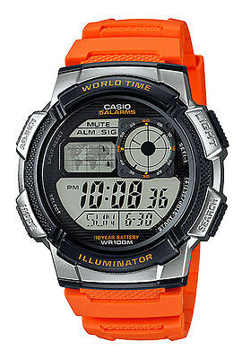 Casio Ae1000w 4Bv Mens Orange Resin Band 5 Alarms Chronograph World Time Watch
