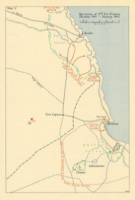 2nd South Africa Division Dec 1941-Jan 1942. Bardia Sallum Egypt. WW2 1960 map