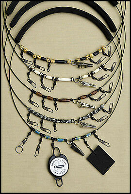 MORNING STAR FLY FISHING LANYARD WITH ZINGER AMBER BONE WITH SMALL BLACK BEADS