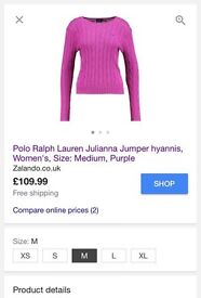 Ladies Ralph Lauren jumper 10/12 hot pink v neck