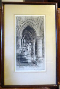 Original Etching of Roslyn Chapel, Edinburgh by Albany Howarth Stratford Kitchener Area image 1