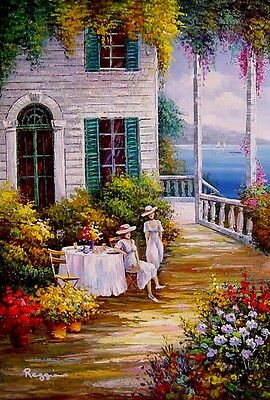 "Figures & Portraits Oil Painting - Ladies and garden - size 24""x36"""