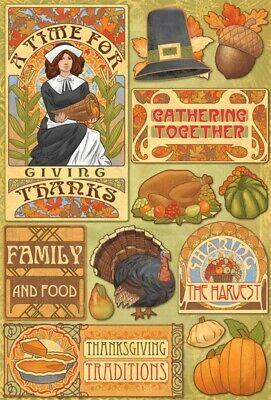 Scrapbooking Crafts KF Stickers Thanksgiving Time for Thanks Turkey Dinner Pie - Thankful Turkey Craft