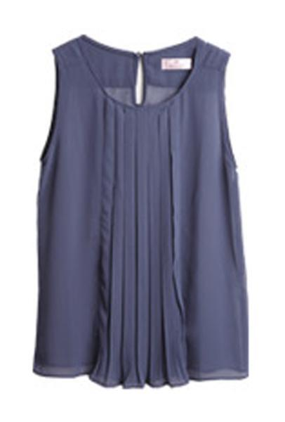 Chiffon Sleeveless Blue Top