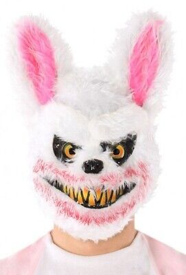 Herren Damen Weiß Rabbid Hase Maske Halloween Zombie Kostüm Kleid Outfit