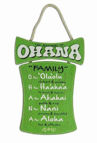 Hawaiian Style Hanging Wall Wood Sign Ohana Means Island Hawaii Home Bar Decor N
