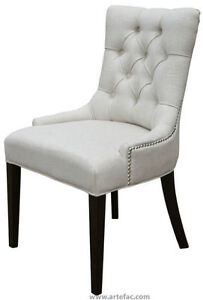 Accent Tufted Fabric Chair w/Silver Nailhead in 4 Colors on Sale