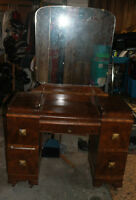 Vintage vanity and makeup table with mirror
