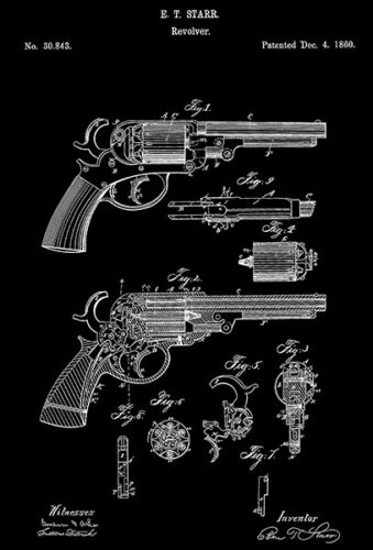 1860 - Revolver - E. T. Starr - Patent Art Magnet