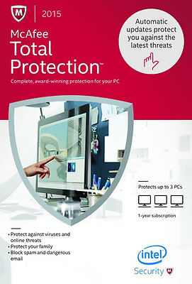 McAfee Total Protection 2015 3PCs - New Retail Box, Free Update to 2016 Version