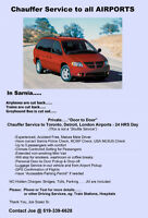 Chauffer Service to all AIRPORTS.....from Sarnia