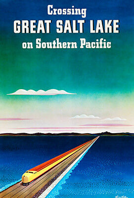 Crossing Great Salt Lake - Southern Pacific Railroad - 1940 - Travel Poster