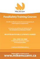Food Safety Certificate Course Feb 28, Mar 9 or March 25
