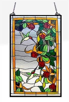 Tiffany Style Stained Glass Window Panel Hummingbirds ~LAST ONE THIS PRICE~   ()