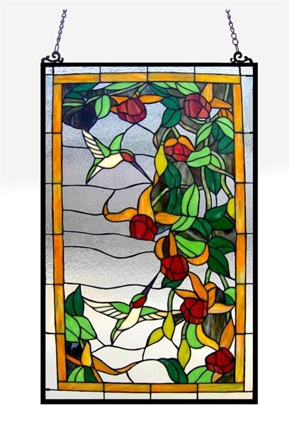 "Tiffany Style Stained Glass Window Panel Hummingbirds 32"" Tall x 20"" Wide"
