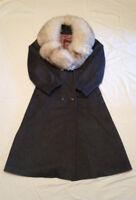 Vintage Gray Wool Coat Womens Long Genuine Fox Fur SZ14-16 Large