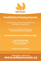 Food Safe Level 1 Certificate Training Course Sunday October 16