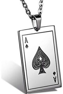 Stainless steel Ace of Spades necklace