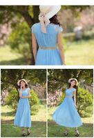 Brand New Bohemian Chiffon Sky Blue Dress