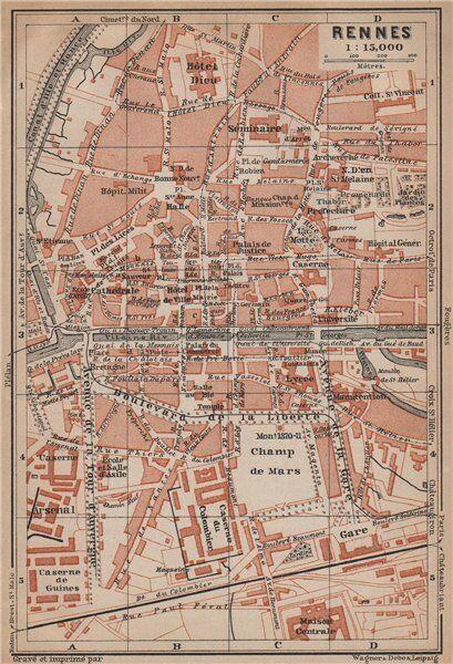 RENNES antique town city plan de la ville. Ille-et-Vilaine carte 1899 old map