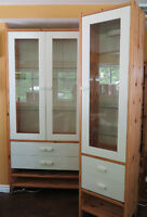 Two Ikea Display Cabinets, shelving, hutch