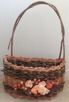 Decorative Wicker Basket with Fabric Flowers
