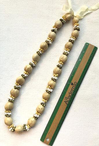 Kukui Nut Lei Necklace White Sand Multi Mongo Shells Graduation Wedding Hawaiian